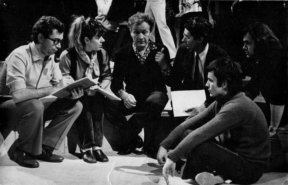 J-P Mathis, Geneviève Soubirou, J-L Barrault, Jacques Noël, François Briouze, Loïc Frémont à l'Élysée Montmartre en 1970